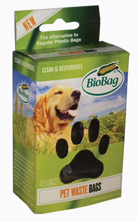 "BIOBAG DOG WASTE BAGS ON A ROLL, 7.9""X12"" 0.92 MIL 45/BX"