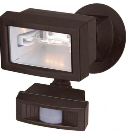 "5"" MINI HALOGEN FLOOD LIGHT FIXTURE W/MOTION SENSOR"