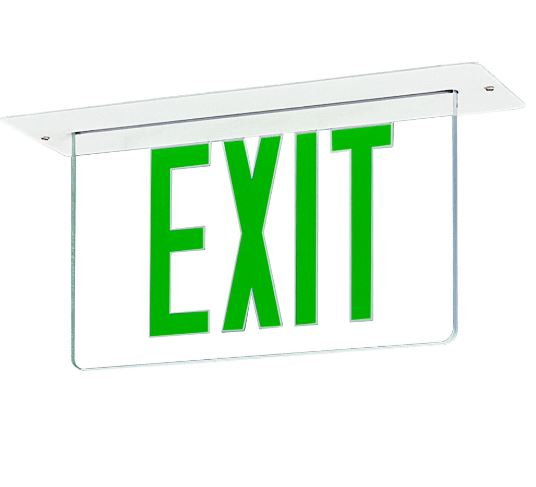 EDGE LIT EXIT SIGN, RECESSED WITH GREEN LED LETTERS &