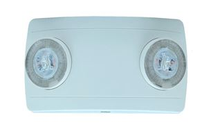 2-HEAD EMERGENCY LIGHT FIXTURE, WHITE HOUSING