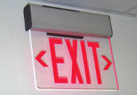EDGE LIT SURFACE MOUNT EXIT SIGN W/BATTERY BACK UP AND