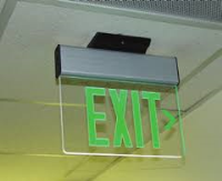 EDGE LIT EXIT SIGN, GREEN ON CLEAR ACRYLIC W/WHITE TRIM