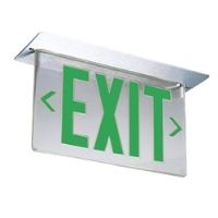 EDGE LIT LED EXIT SIGN, SINGLE FACE GREEN ON CLEAR
