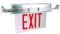 EDGE LIT EXIT SIGN, RECESSED WITH RED LED LETTERS &