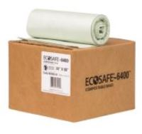 ECOSAFE 96 GALLON TRASH BAGS, .85MIL, 54X60, (FLAT PACK)