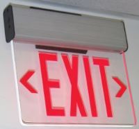 EDGE LIT LED EXIT SIGN, RED ON CLEAR - SURFACE MOUNT W/
