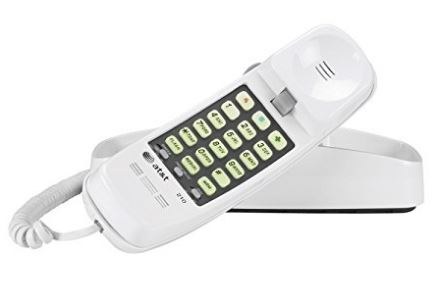TELEPHONE, WHITE AT&T TRIMLINE CORDED PHONE 210M