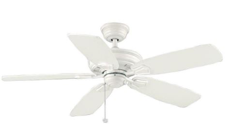 "52"" INDOOR/OUTDOOR WHITE DAMP RATED CEILING FAN, 5 BLADE"
